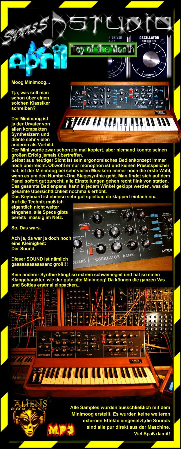 moog minimoog synth audio demos